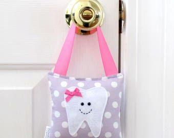 Girls Tooth Fairy Pillow - Personalized Tooth Fairy Pillow - Polka Dots