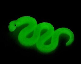 Snake, Glow in the Dark Polymer Clay Figurine. Glittery Python, Home Decor, Birthday Gift.