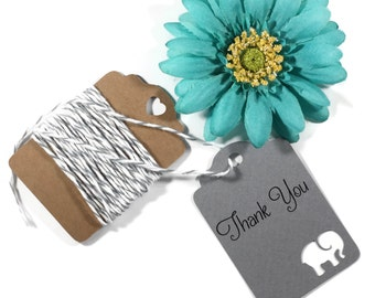 Grey Elephant Baby Shower Tags Set of 20 - Dark Grey Shower Favors - Thank You Tags - Elephant Shower Gift Tags - Neutral Baby Shower Favors