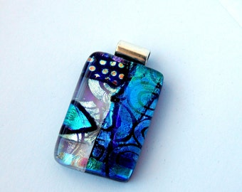 Blue Glass Pendant Fused Glass Jewelry Dichroic Glass Necklace Slide Pendant Shimmering Blue Glass Statement Necklace