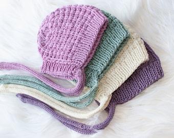 Baby Bonnet, Cotton bonnet, 0-3m, Wool bonnet, Knit Baby Girl Bonnet, Knit Baby Boy Bonnet, Hand Knit, Baby Hat, Warm, Soft bonnet