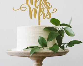 SALE - Mr & Mrs Cake Topper, Wedding Cake Topper, Mr and Mrs Wood Cake Topper, Calligraphy cake topper