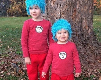 Thing One Thing Two wig hat inspired by Thing 1 Thing 2 wig Dr. Suess any size Cat In The Hat for costumes