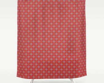 Red Shower Curtain, Large Bath Curtain, Red And Grey Diamond Pattern,  Modern Shower
