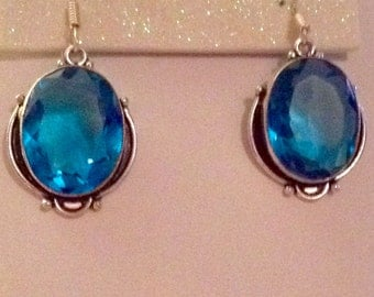 Sterling Silver Turquoise Stained Glass Drop Earrings