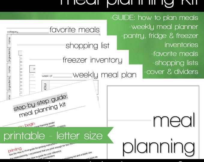 Featured listing image: Meal Planning Printable - INSTANT DOWNLOAD - Menu Planning Guide - Grocery Lists - Weekly Meal Planner - Pantry Inventories - How To Guide