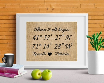 Where it all began - Gps Coordinates print, Latitude-Longitude print, Gift for husband, Gift for wife, Love story Coordinate Burlap Print-9Z