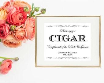 Cigar Bar Wedding Sign - Cigar Bar Wedding Print - 8x10 Personalized Cigar Sign - Wedding Printable - Cigar Digital Print - Cigar Party Sign