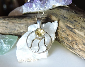 Citrine Gemstone Necklace Sterling Silver