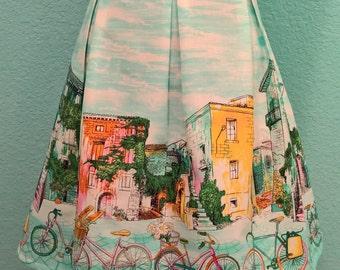 Box Pleated Skirt/Border Print Skirt