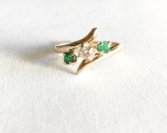 Vintage Emerald Ring, Diamond Emerald Rings, 14K Gold Vintage Ring, May Birthstone Ring