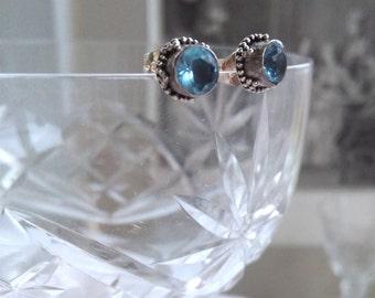 Blue topaz sterling silver studs earrings