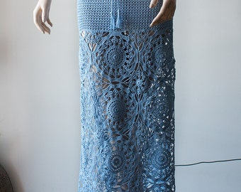 SALE - 50% OFF Blue Lacy Crocheted Skirt/ Maxi Skirt Woman/ Cotton Skirt / Lace Skirt/ Handmade Gift for Her/ Summer Clothes/ Designer Skirt
