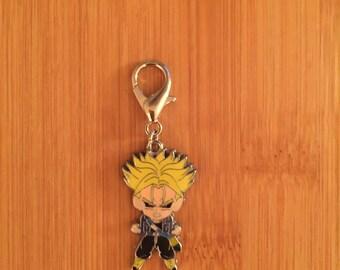 "Dragonball ""Trunks"" zipper charm with key ring, Dragonball zipper pull, Dragonball purse charm, Dragonball keychain"
