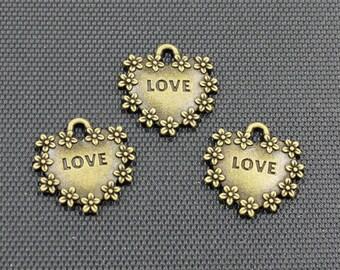 20pcs Love Heart Charm Antique Bronze Tone Double Side 16x17mm - BH402