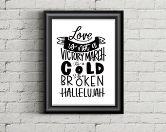 Hallelujah Print | Leonard Cohen Lyrics | Home Wall Decor | Hand Lettered | Digital Print