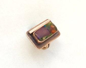 Copper ring, copper jewelry, jasper ring, stone set ring, bronze ring, Mother's Day gift, made in Santa Fe, purple ring, copper jasper ring