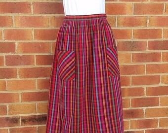 Vintage Striped Skirt, Vintage Ladies Skirt, Cotton Skirt, Vintage Bright Skirt,