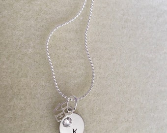 Hand-Stamped Initial Pendant Necklace