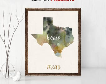 Texas State Map Print, State Map Art, State Map, Map Art, Map for Home, Anniversary Gift, Birthday Gift, Wedding Gift, State Map Poster