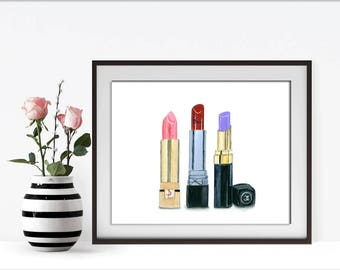 Dior, Chanel Print, Christian Dior, Lipstick Print, Coco Chanel, Chanel, Makeup Vanity, Makeup Wall Art, Bathroom Vanity, Girls Room Decor,