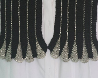 Beaded Scarf-BlackScarf with Frosted White Beads,Scarf for a Black Tie Affair,Sophisticated and Elegant Scarf,Year Round Light Weight