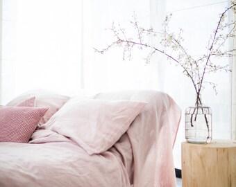 Linen Duvet Cover, stonewashed linen, softened linen bedding, pink, eco duvet cover, organic bedding