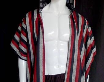 SALE! Striped Silk Kimono with Silver Polka Dot Lined Hood, Caftan, Menswear, Robe, Festival Clothing