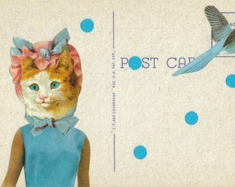 Mixed Media Cat Art, Pretty Kitty Cat Gift, Blue Bird Artwork, Original Collage on Paper, Feline Artwork, Old Postcard