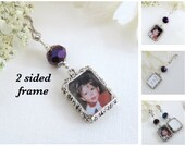 Wedding bouquet photo charm with 2 sided frame. Metallic purple. Memorial photo charm double sided. DIY or I do photos. Bridal shower gift.