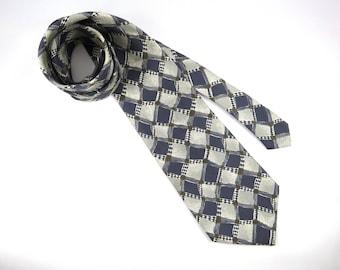 Vintage AXXA Silk Necktie, Deep Blue, Grey, White and Brown, Abstract Geometric Design Diamonds, Squares,  Mens Neckwear, Wide End