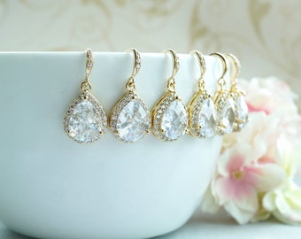 Wedding Earrings LARGE Teardrop White Cubic Zirconia Dangle Earring Bridesmaid Earrings Bridesmaid Gift, Set of 5, 6, 7, 8, 9, 10, 11, 12