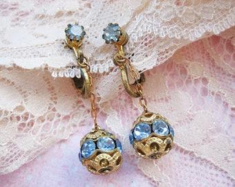 Antique dangle earrings, Antique Victorian earrings, Antique Art Nouveau earrings, Antique topaz blue glass earrings, Topaz blue earrings