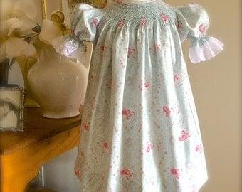 Blue Vintage Rose Baby  Hand Smocked Sister Girl Vintage Inspired Size NB to 6
