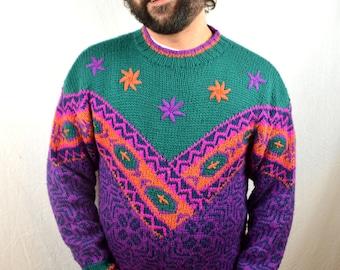 Vintage 80s Obermeyer Wool Acrylic Ski Rainbow Sweater