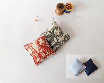 Recycled Fabric Swatch, Scrap and Offcut Pin Cushion with Eco Friendly Wadding, Character Prints
