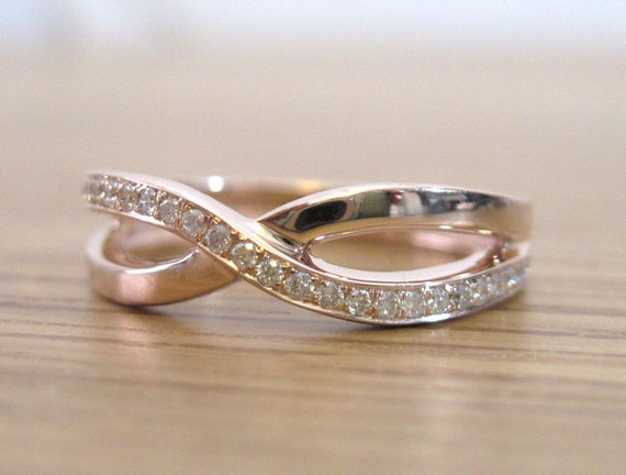 Rose Gold Diamond Knot Ring Infinity Knot Ring Gold Infinity