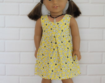 Yellow Sleeveless Pleated Dress Doll Clothes to fit 18 inch dolls to 20 inch dolls such as American Girl & Australian Girl dolls