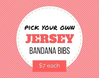Pick your own JERSEY BANDANA BIB - reversible bibdana, baby bib, baby shower gift