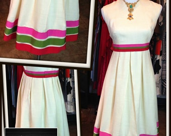 Vintage Ivory Linen Pink Green Red Trim Dress FREE SHIPPING