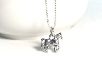 Horse Necklace Sterling Silver Horse Charm Small Pony Charm Horse Jewelry  Carousel Charm 925 Silver Girl Necklace