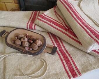 65. Antique handwoven hemp grainsack, organic hemp grainsack, grainsack upholstery fabric from 1930s
