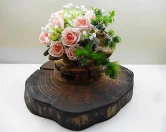 "Tree Stump Cake Base, Rustic Cake Stand, Wood Cake Stand, Rustic Table Decor, Wood Slab Cake Stand, Rustic Wedding Decor, 13""-14"""