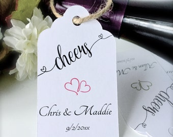 Wedding favor tags, wine tags, cheers tags, champagne favor tags, bachelorette tags, party favor tags, favor tags - set of 24( tg37 )