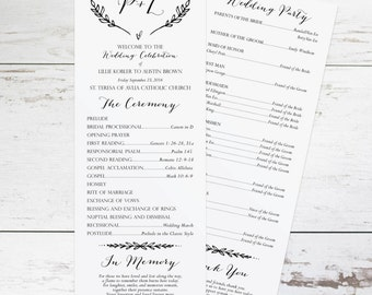 Rustic Wedding Program Template, Rustic Wedding Programs Instant Download, Wedding Program Printable, DIY Wedding Program, Unique Wedding