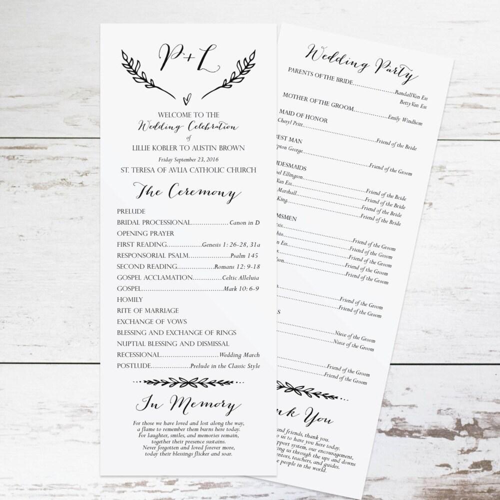 Wedding Program Ideas Templates: Rustic Wedding Program Template Rustic Wedding Programs