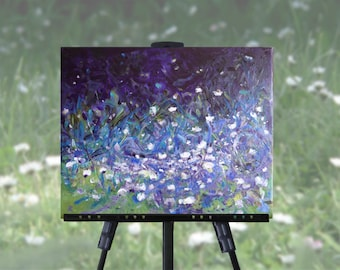 Daisies abstract painting on canvas, purple blue green abstract art, original art, wall art, free shipping