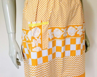 Vintage, Original 1960s, Hand Made, Orange & White, Half Apron, Pinafore, Pinny One Size