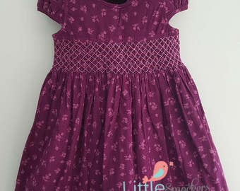 Gorgeous pinwale corduroy hand smocked dress