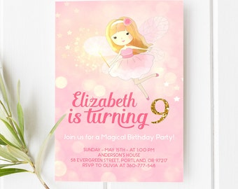 Fairy Birthday Invitation Pink and Gold Birthday Invitation Girl Birthday Party Invite Fairy Princess Party Printable Invitation Any Age